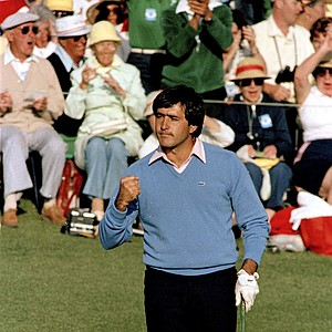 Seve Ballesteros is shown clenching fist after sinking the winning putt in the Masters Golf tournament Monday, April 11, 1983 at the Augusta National Golf Club in Austusta, Ga.