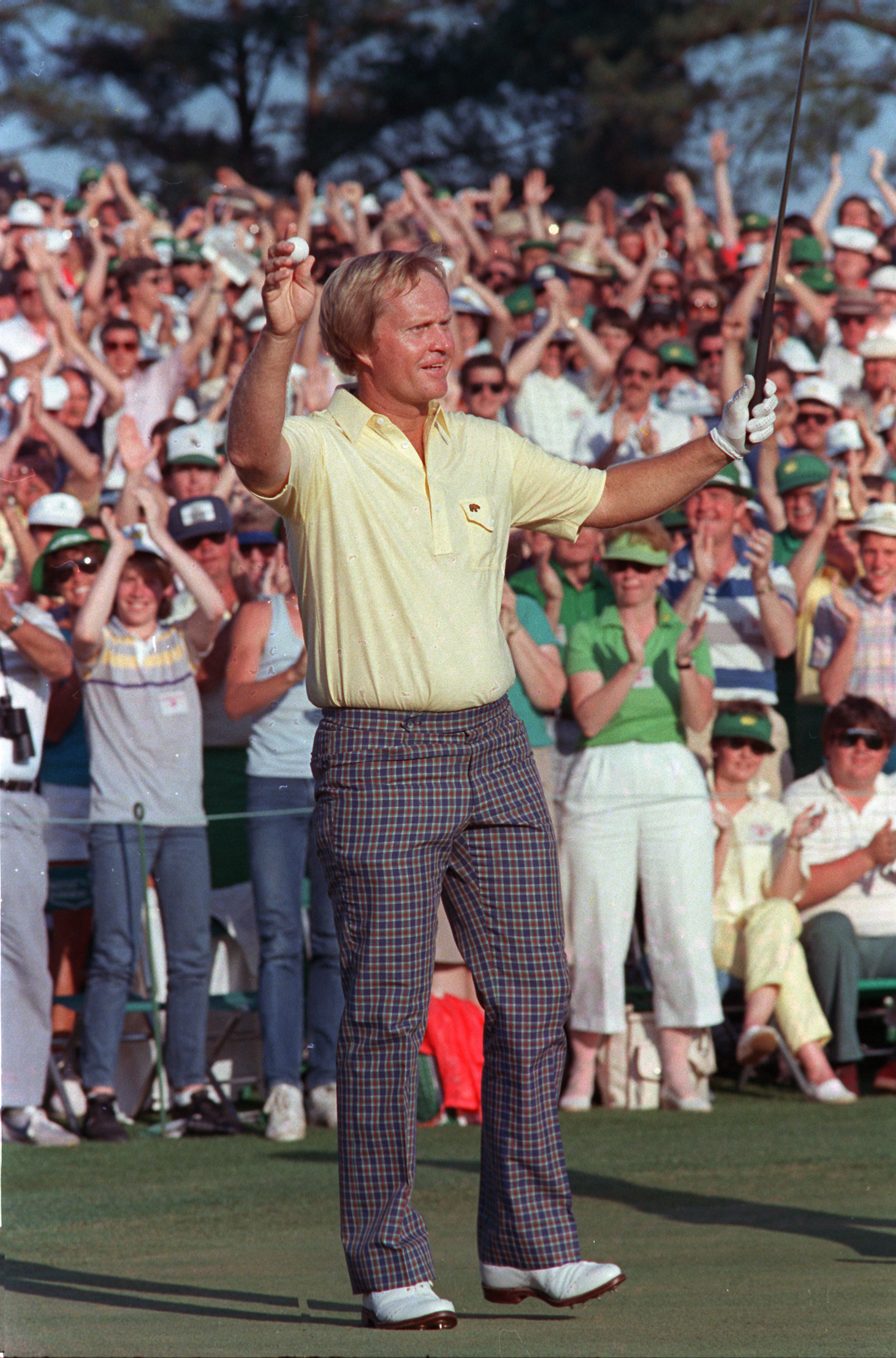 Jack Nicklaus reacts as he finishes on the 18th to win the Masters Championship at Augusta National Golf Club in Augusta, Ga., Sunday, April 14, 1986. This was his sixth Masters victory.