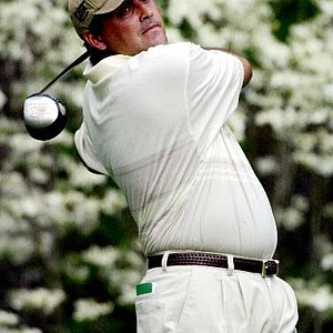 Angel Cabrera of Argentina, tees off the 11th hole during the third round of the 2001 Masters at the Augusta National Golf Club.