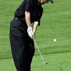 Mike Weir hits his third shot on the second hole during the third round of the 2001 Masters.