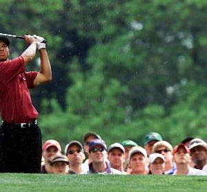 Tiger Woods on the sixth tee during the final round of the 2001 Masters.