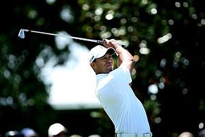 Tiger Woods hits his tee shot at No. 2 during Round 1 of the Arnold Palmer Invitational at Bay Hill Club & Lodge.