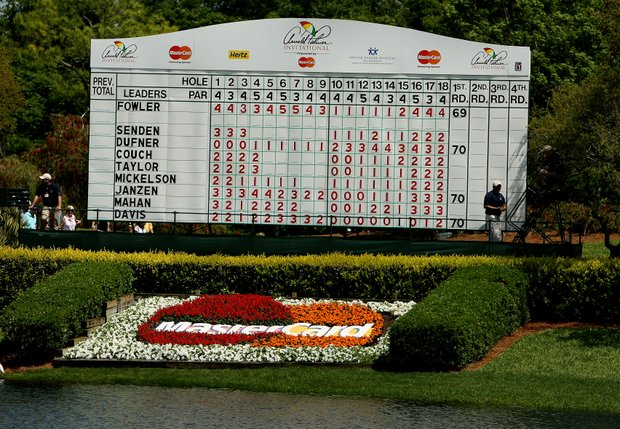 The leaderboard at No. 8 green during Round 1 of the Arnold Palmer Invitational at Bay Hill Club & Lodge.