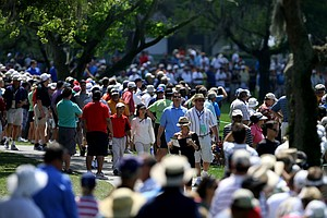The crowds following Tiger Woods, Gary Woodland and Dustin Johnson, during Round 1 of the Arnold Palmer Invitational at Bay Hill Club & Lodge.