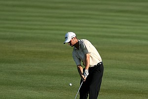 Spencer Levin hits a shot at No. 6 during Round 2 of the Arnold Palmer Invitational at Bay Hill Club & Lodge.