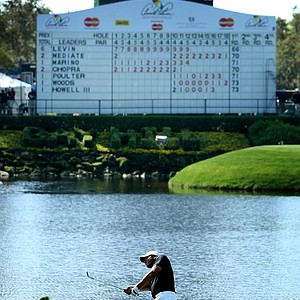 Jhonattan Vegas hits a shot at No. 18 where he made bogey during Round 2 of the Arnold Palmer Invitational at Bay Hill Club & Lodge.