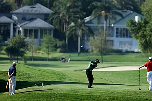 Tiger Woods hits his tee shot at No. 16 during Round 2 of the Arnold Palmer Invitational at Bay Hill Club & Lodge.