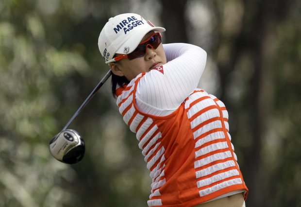 Jiyai Shin, of South Korea, drives on the 11th tee in the second round of the LPGA Kia Classic golf tournament at Industry Hills Golf Club in Industry, Calif., Friday, March 25, 2011.