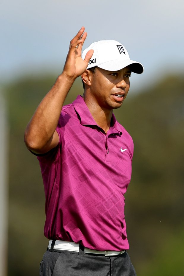 Tiger Woods at No. 17 during Round 3, where he made birdie.