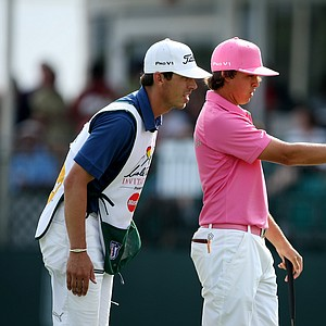 Rickie Fowler and his caddie Joe Skovron at No. 17 during Round 3.