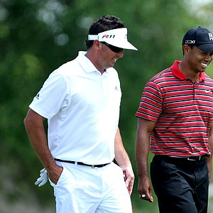 Tiger Woods and Pat Perez at No. 15 during the final round of the Arnold Palmer Invitational at Bay Hill Club & Lodge.