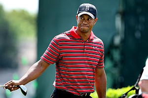 Tiger Woods as he leaves the 18th tee during the final round of the Arnold Palmer Invitational at Bay Hill Club & Lodge.