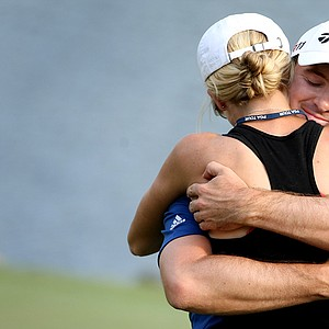 Martin Laird hugs his fiance Meagan after winning the Arnold Palmer Invitational.