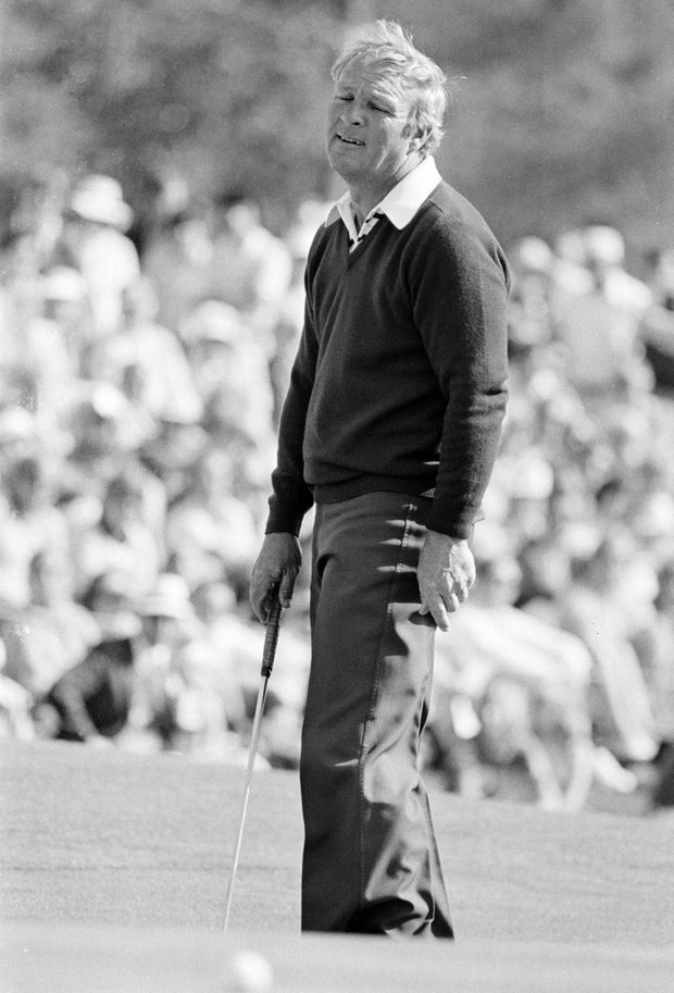 Four-time Masters champion Arnold Palmer grimaces as he misses a putt on the 18th at at the Augusta National Golf Club in Augusta, Ga., Friday, April 9, 1976.