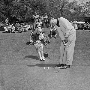 Robert Sweeny putts on second green, during third round of 1950 Masters Tournament, on April 8, 1950 in Augusta, Ga.