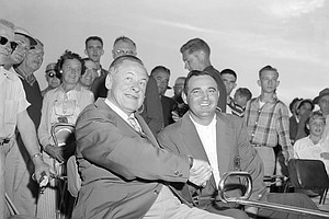 Golfer Bobby Jones, left, congratulates Doug Ford after he won the Masters Golf Tournament in Augusta, Ga., April 7, 1951.