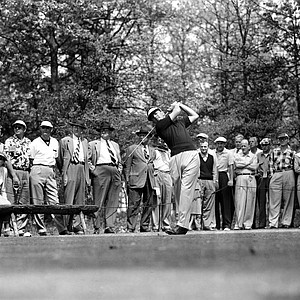 Jack Burke Jr. hits from second tee in third round of the Masters Golf Tournament at Augusta National Golf Club in Augusta, Ga., April 5, 1952.
