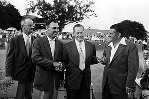 "Robert Tyre ""Bobby"" Jones Jr., president of the Augusta National Golf Club, congratulates Master winner Ben Hogan, left, and runner-up Ed ""Porky"" Oliver, both of Palm Springs, Ca., at the Master Golf Tournament in Augusta, Ga., April 12, 1953. Hogan shot a record-breaking 274 for the 72 holes and Oliver had a 279."