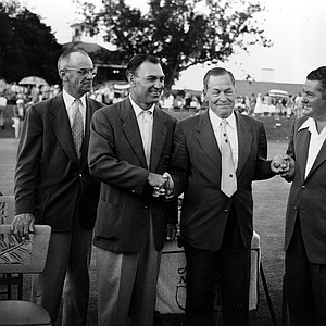 """Robert Tyre """"Bobby"""" Jones Jr., president of the Augusta National Golf Club, congratulates Master winner Ben Hogan, left, and runner-up Ed """"Porky"""" Oliver, both of Palm Springs, Ca., at the Master Golf Tournament in Augusta, Ga., April 12, 1953. Hogan shot a record-breaking 274 for the 72 holes and Oliver had a 279."""