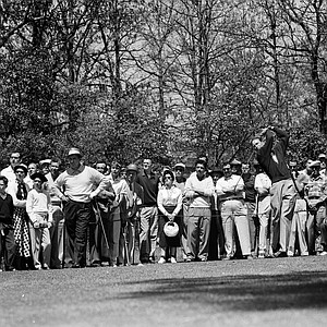 Golfer Charlie Coe drives from second tee at Augusta, Ga., during the Masters Tournament, April 9, 1955.