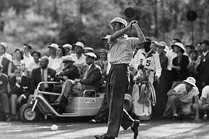 Ken Venturi drives off from 14h tee during the final round of the Masters golf tournament at Augusta, Ga., on April 6, 1956.