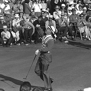 Dave Love Jr., throws his ball to the crowd April 9,1964 after he putts out on 18 in first round of the Masters Golf Tournament, at Augusta,Ga. Little-known Love, from Charlotte, N.C. had a 69 for a five-way tie for low honors.