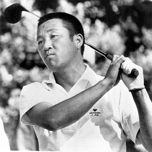 Isao Aoki of Saitama, Japan, watches his shot as he played in the first round of the Masters Golf Tournament at Augusta, Ga., Thursday, April 7, 1977.