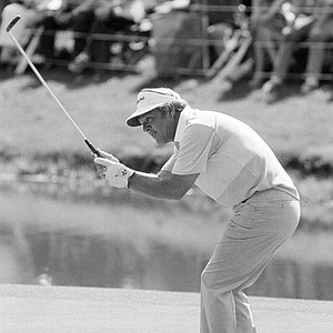 Arnold Palmer watches his shot during the second round of play at the Masters Golf Tournament, Friday, April 8, 1978, Augusta, Ga.