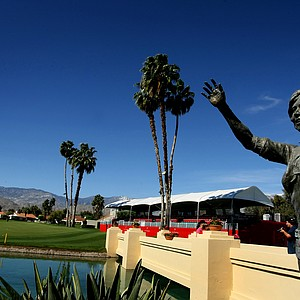 A statue of the First Lady of Golf, Dinah Shore, graces the bridge to No. 18 at the Kraft Nabisco Championship.