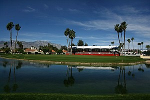 A view of No. 18 green from the fairway Wednesday at the Kraft Nabisco Championship.