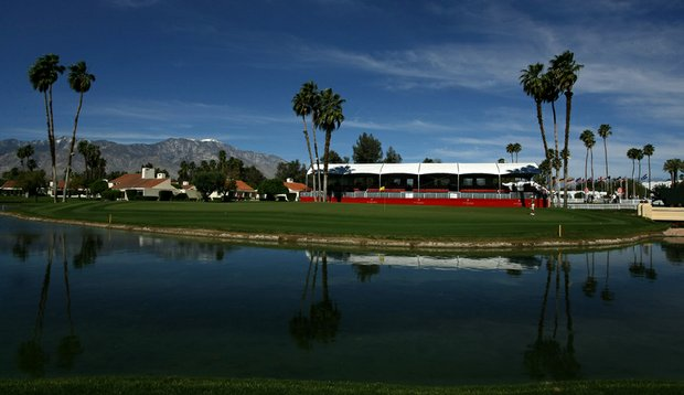 The 18th green at the Dinah Shore Tournament Course at Mission Hills, site of the Kraft Nabisco Championship.
