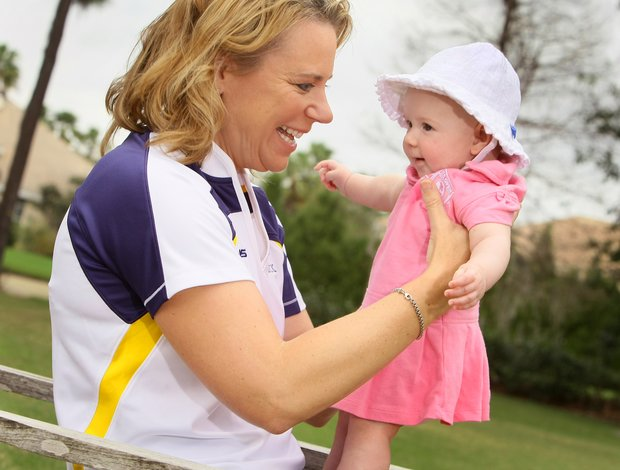 Orlando, Fla.--02/05/10--Annika Sorenstam at Her home in Lake Nona with her baby daughter Ava for Golfweek Style Issue.