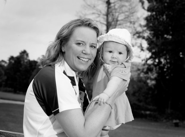 Orlando, Fla.--02/05/10--Annika Sorenstam at Her home in Lake Nona with her baby Ava for Golfweek Style Issue.