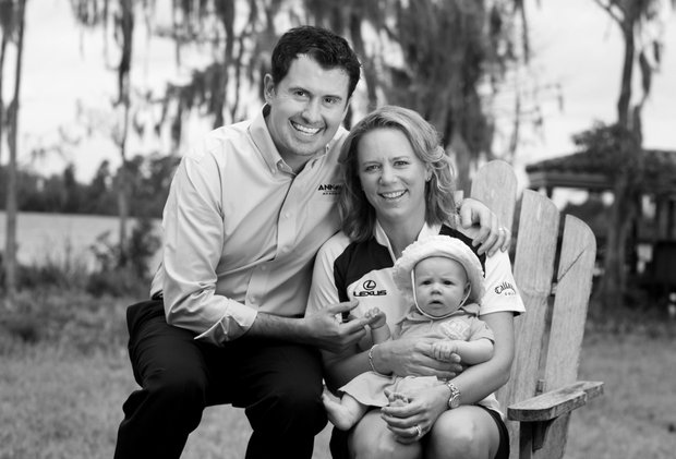 Orlando, Fla.--02/05/10--Annika Sorenstam at her home in Lake Nona with baby Ava and husband, Mike McGee for Golfweek Style Issue.