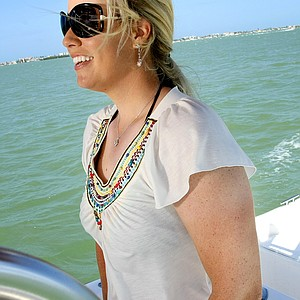 Tampa, Fla.--04/08/10--Brittany Lincicome on her boat.