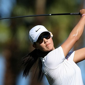 Michelle Wie hits her tee shot at No. 3 during the first round.