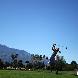 Louise Friberg hits her tee shot at No. 5 on Thursday.