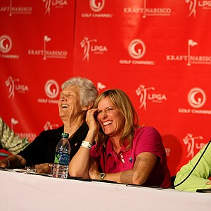 Pat Bradley holds the discussion as Betsy King and Kathy Whitworth, far left, laugh, during the Hall of Famers & Legends Roundtable during Friday's Kraft Nabisco.