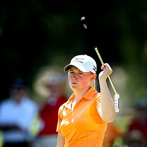 Stacy Lewis reacts to missing a birdie putt at No. 17 during thesecond round, she shot a 69.