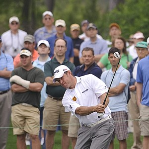 Lee Westwood chips on the 15th hole during the second round of the Houston Open.