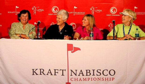 From left, Amy Alcott, Kathy Whitworth, Betsy King and Pat Bradley held a Hall of Famers & Legends Roundtable during the second round of the Kraft Nabisco Championship.