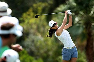 Michelle Wie hits her tee shot at No. 6 during the third round.