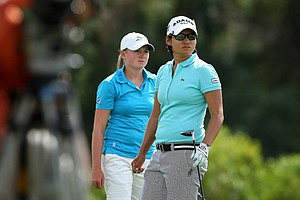 Yani Tseng and Stacy Lewis during the third round. Yani Tseng took the lead from Lewis heading into Sunday.