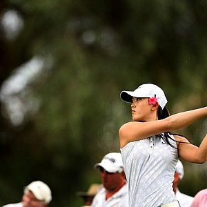 Michelle Wie hits her tee shot at No. 16 during the third round. Wie shot a 69 and moved from T8 to fourth.
