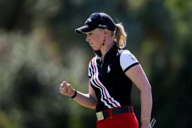 Morgan Pressel pumps her fist after making birdie at No. 5.