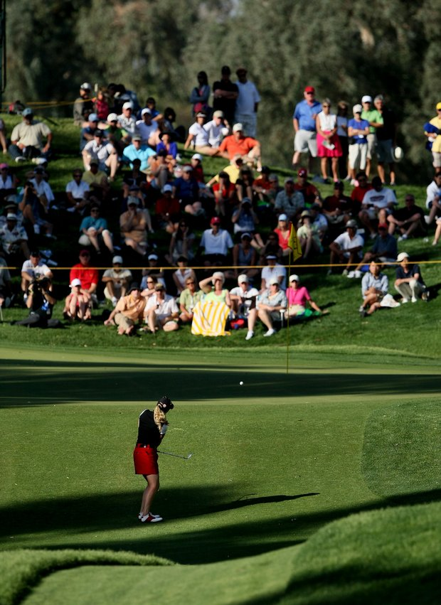 Morgan Pressel at No. 17 during the final round of the Kraft Nabisco Championship.