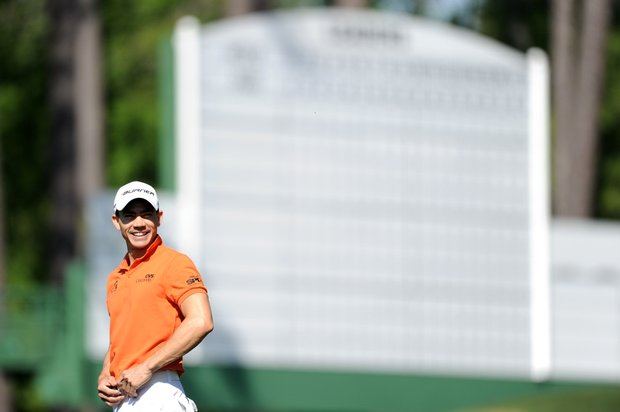 Camilo Villegas waits on a green during a practice round prior to the 2011 Masters.