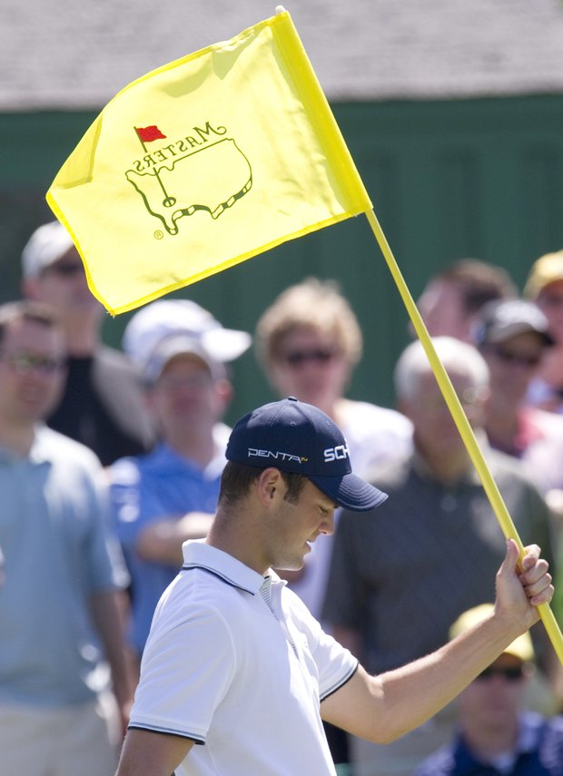 Martin Kaymer on the ninth green during a practice round prior to the 2011 Masters.