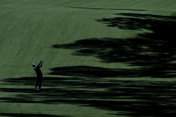 Adam Scott of Australia hits a shot during a practice round prior to the 2011 Masters Tournament at Augusta National Golf Club on April 4, 2011 in Augusta, Georgia.