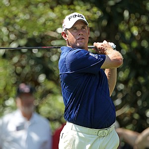 Lee Westwood of England watches a shot during a practice round prior to the 2011 Masters Tournament at Augusta National Golf Club on April 4, 2011 in Augusta, Georgia.